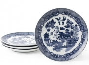 HIC Blue Willow 7-1/2-Inch Dessert Plate, Set of 4