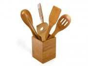 Tru Bamboo Solid Green 6 Pc Kitchen Utensils with Bamboo Caddy Set