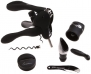 Metrokane 6010 Rabbit 6-Piece Wine Tool Kit, Black