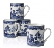 HIC Blue Willow 10-Ounce Mugs, Set of 4