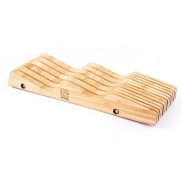 Premium Natural in Drawer Bamboo Kitchen Knives Block Organizer & a Special Gift