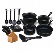 NEW MODA FINA 32 PC KITCHEN COOKWARE SET POTS AND PANS CUTLERY TOOLS & FLATWARE