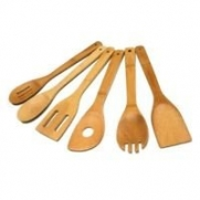 TruBamboo 6pc Bamboo Kitchen Utensil Set Spoon Spatula