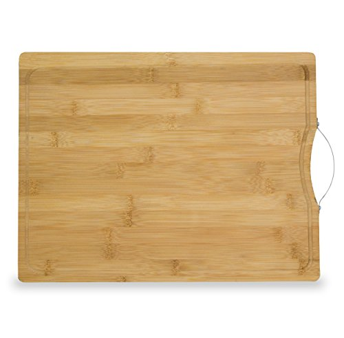 Chef Essential Extra Large Thick Bamboo Cutting Board 18x12 With Drip Groove And Handle Chef