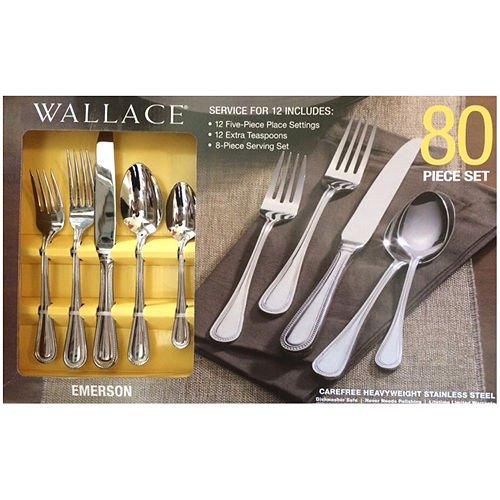 Wallace Stainless Steel Flatware 80 Piece Set Emerson