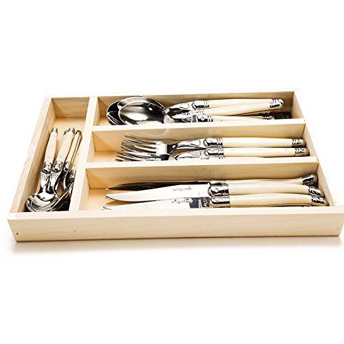 laguiole jean dubost 24 piece flatware set knives spoons forks ivory laguiole laguiole 71131. Black Bedroom Furniture Sets. Home Design Ideas